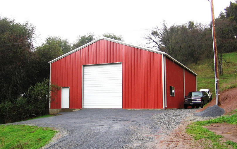 red steel building